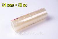 Скотч канцелярский прозрачный (24 mm×20 m,6 шт/упаковка), фото 1