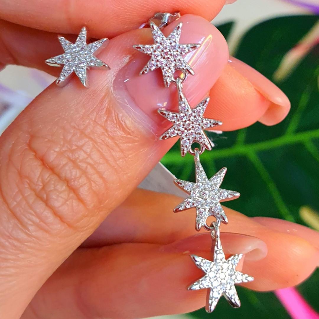 Серебряные пуссеты Звезды - Серьги гвоздики Звездочки серебро