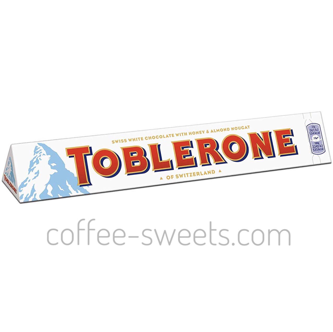 Шоколад Toblerone білий з нугою з меду і мигдалем 100 гр