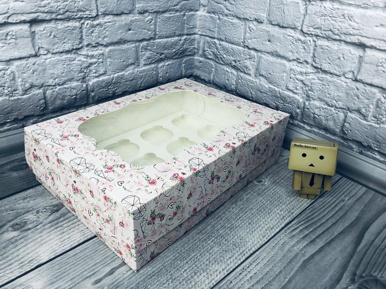 *10 шт* / Коробка для 12-ти кексов / 320х230х90 мм / печать-КристальноеСердце / окно-обычн / лк