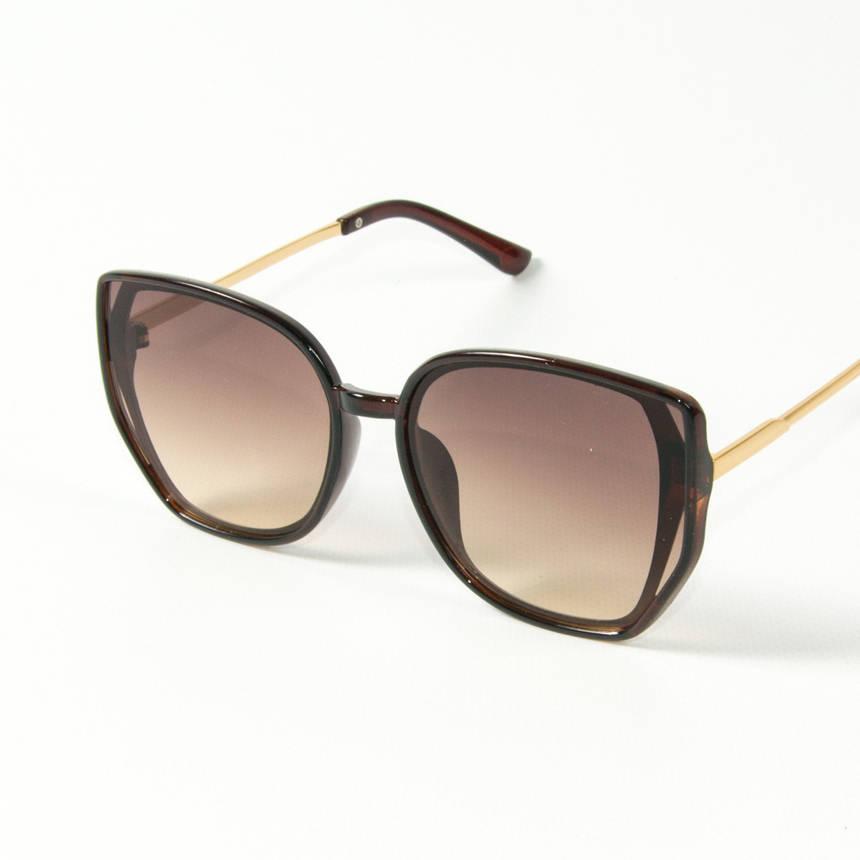 Оптом женские солнцезащитные очки кошачий глаз (арт. 2311/4) коричневые, фото 2