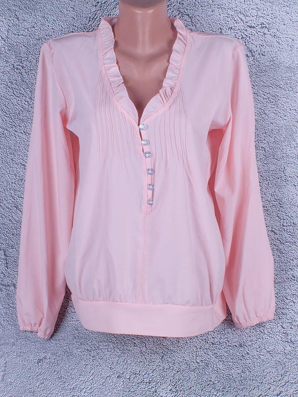 Блузка однотонная женская с длинным рукавом (розовый)
