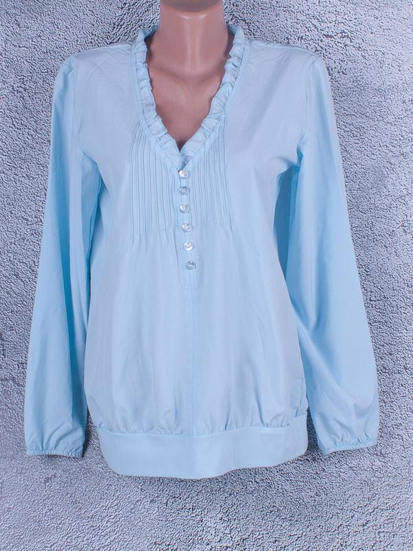 Блузка однотонная женская с длинным рукавом (голубой, светло-синий)