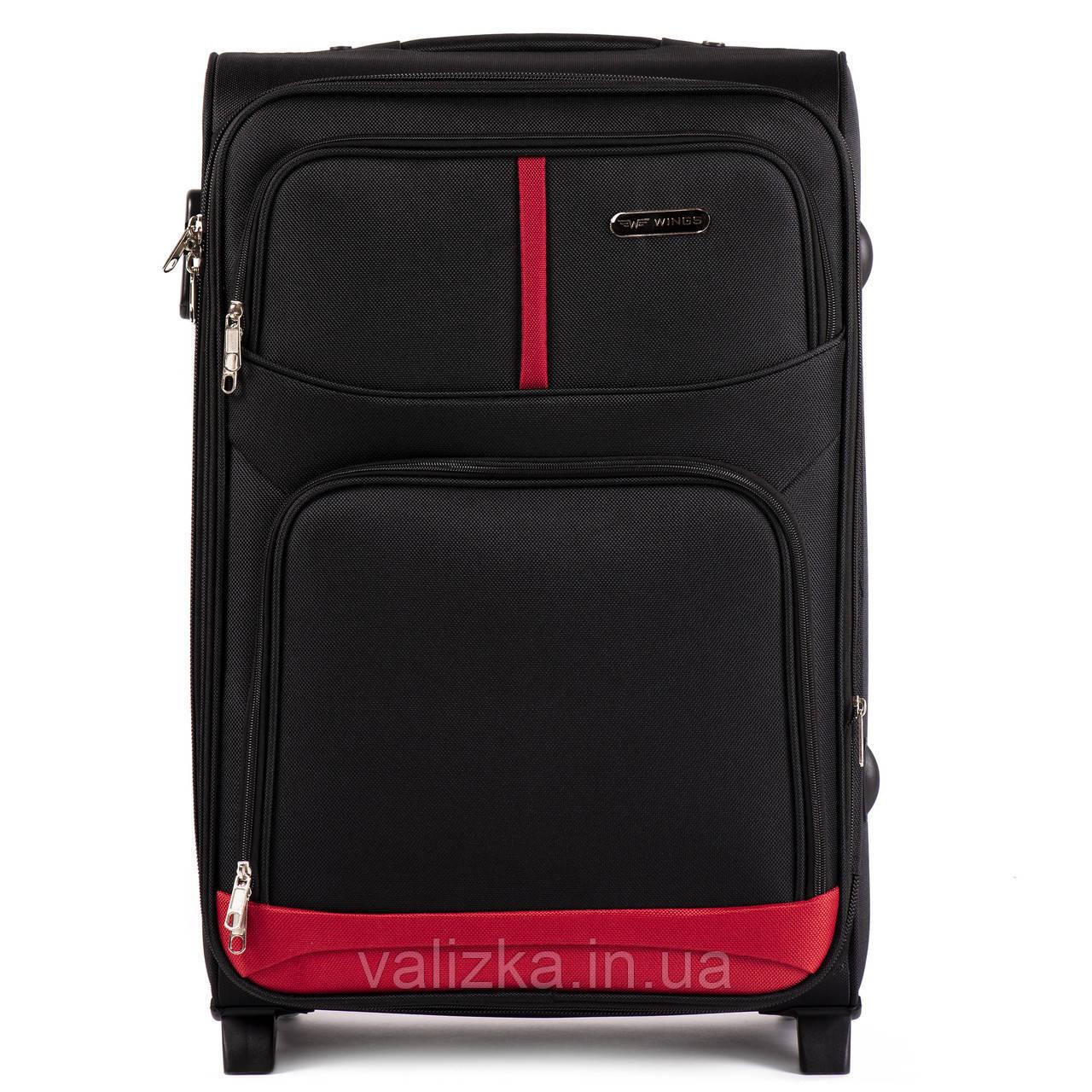 Средний текстильный чемодан на 2-х колесах Wings-206 черного цвета.
