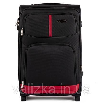 Средний текстильный чемодан на 2-х колесах Wings-206 черного цвета., фото 2