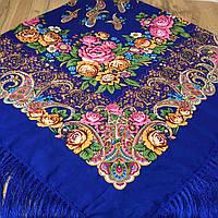 Яркий платок для девушек (135х135см, синій, 80%-шерсть)