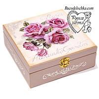 Шкатулка Цветы Розы с делениями декупаж ручной работы 17см * 17см * 7 см