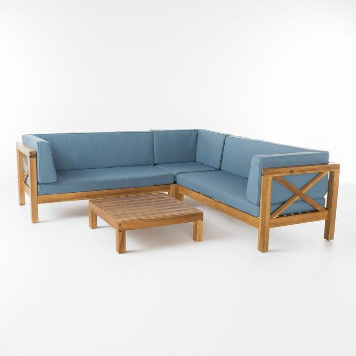 Набор садовой мебели из 4 секций с подушками