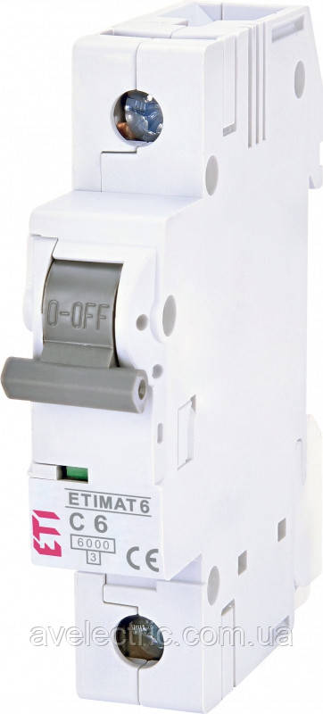 Автоматический выключатель ETIMAT 6 1p D 1 ETI, 2161504