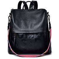 Рюкзак сумка женский кожаный городской. Рюкзак трансформер из натуральной кожи (черный)