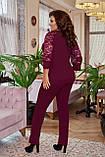 Брючный костюм женский Креп дайвинг и гипюр Размер 50 52 54 56 58 60 В наличии 4 цвета, фото 5