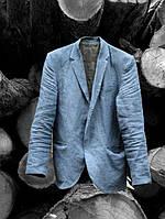 Приталенный мужской пиджак из  натурального льна, умягченного , цвет на выбор, осень-весна, фото 1
