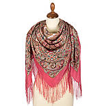 Великолепный век 1867-3, павлопосадский платок (шаль, крепдешин) шелковый с шелковой бахромой, фото 3