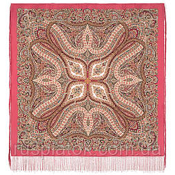 Великолепный век 1867-3, павлопосадский платок шелковый (крепдешиновый) с шелковой бахромой