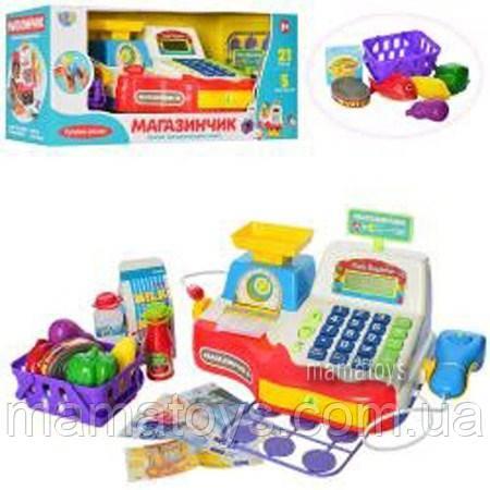 Детская Интерактивная касса 7162 RU Магазинчик (Мой магазин) Звук, микрофон, калькулятор, продукты, чек