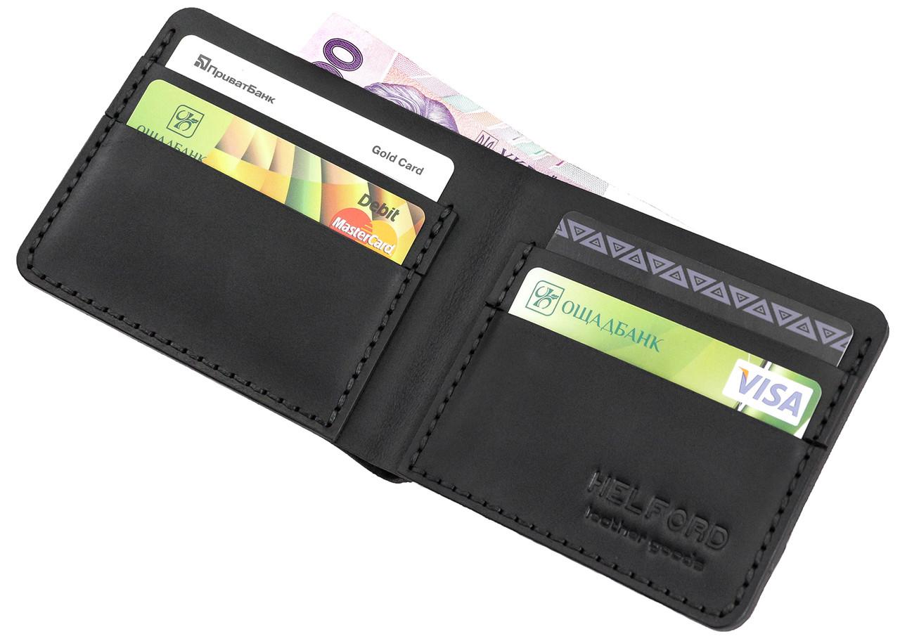 Бумажник мужской из кожи черный ручной работы HELFORD Корби blk (1132517851)
