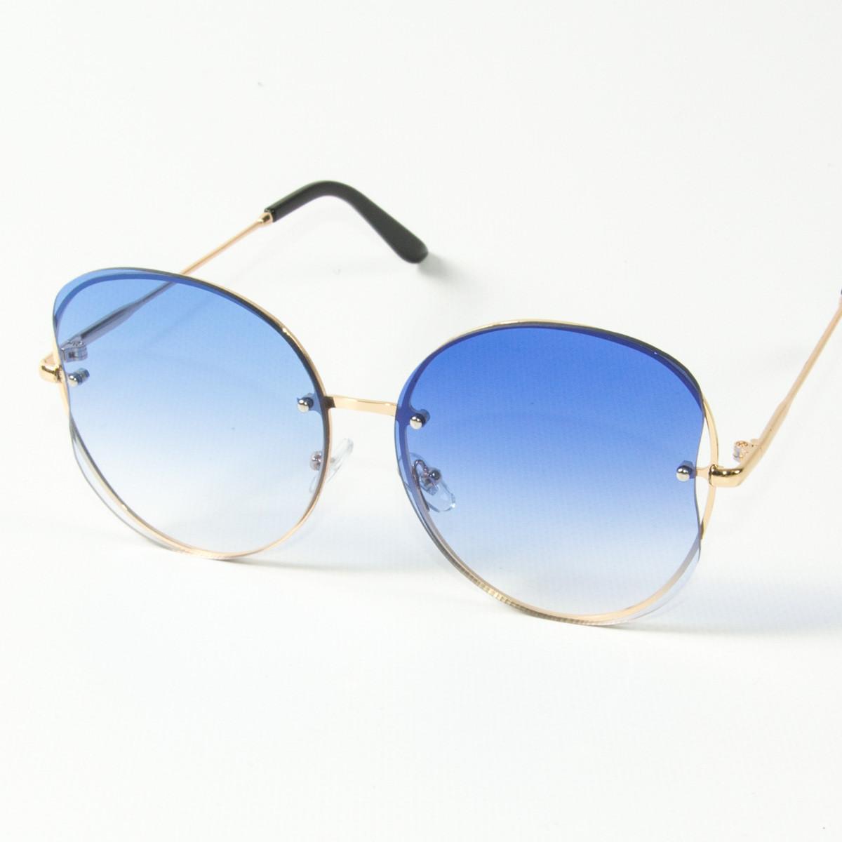 Оптом женские круглые солнцезащитные очки  (арт. 907/3) голубые