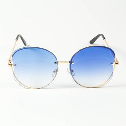 Оптом женские круглые солнцезащитные очки  (арт. 907/3) голубые, фото 2