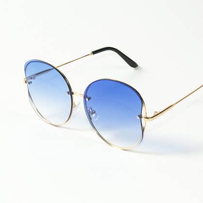 Оптом женские круглые солнцезащитные очки  (арт. 907/3) голубые, фото 3