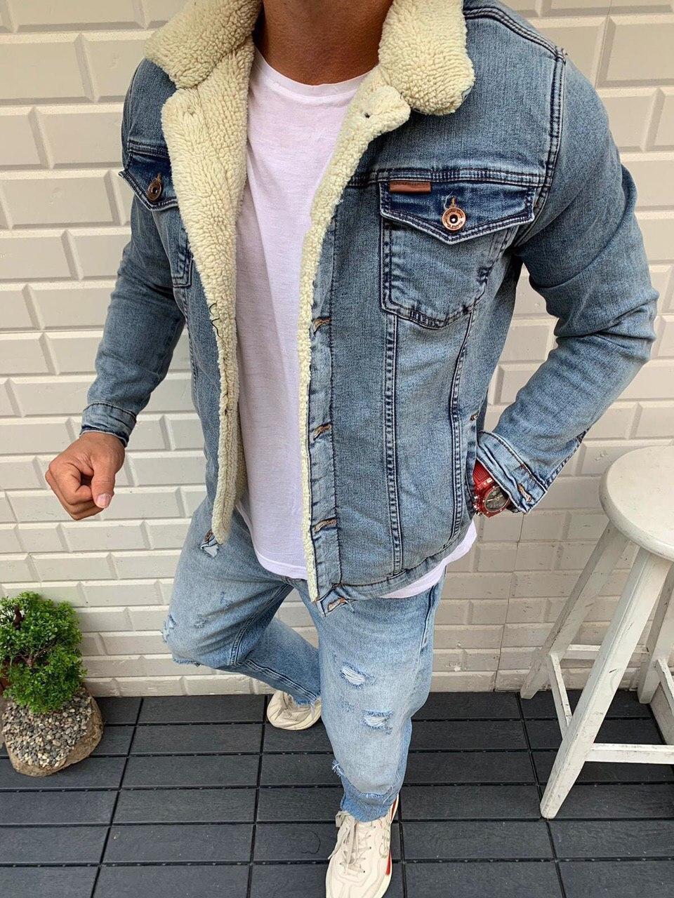 Чоловіча джинсова куртка на хутрі світло-синя MMX3