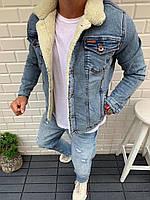 Чоловіча джинсова куртка на хутрі світло-синя MMX3, фото 1