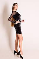 Сукня з чорного оксамиту із сіткою на рукавах і декольте