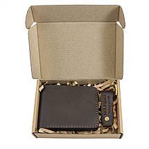 Бумажник мужской из кожи тёмно-коричневый ручной работы HELFORD Корби brn (1132541762), фото 3
