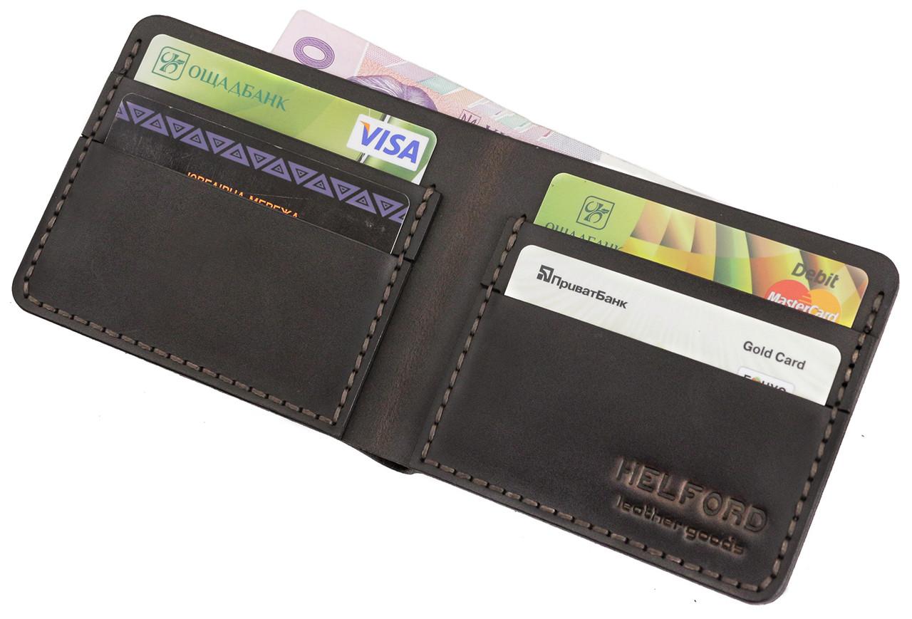 Бумажник мужской из кожи тёмно-коричневый ручной работы HELFORD Корби brn (1132541762)