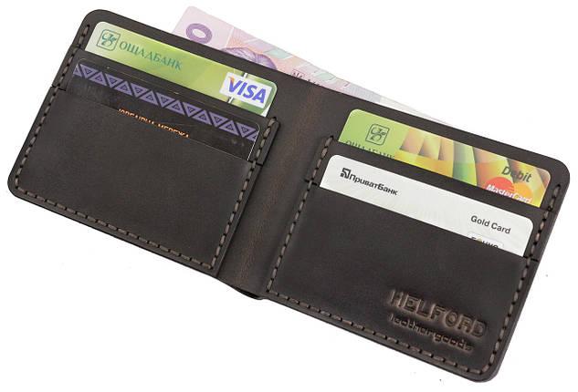 Бумажник мужской из кожи тёмно-коричневый ручной работы HELFORD Корби brn (1132541762), фото 2
