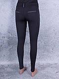 Лосины, Леггинсы женские с шлёвками для пояса (чёрный, серый), фото 2