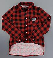 Рубашка клетка для девочек, 128-164 рр. Артикул: 5005-красный, фото 1