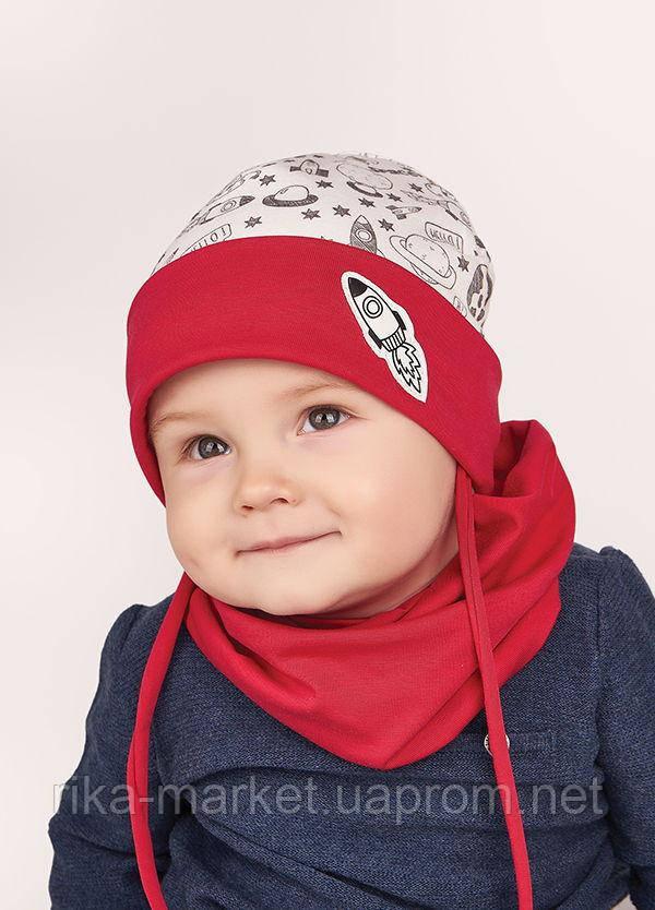 Набор для мальчика (шапка+хомут), арт. Марк, возраст от 9 до 18 месяцев ТМ Дембохаус
