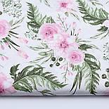 """Лоскут ткани """"Розовые розочки и анемоны с вычурными листьями"""" на белом (№1641а), размер 44*80 см, фото 2"""