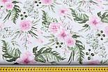 """Лоскут ткани """"Розовые розочки и анемоны с вычурными листьями"""" на белом (№1641а), размер 44*80 см, фото 4"""