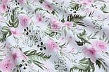 """Лоскут ткани """"Розовые розочки и анемоны с вычурными листьями"""" на белом (№1641а), размер 44*80 см, фото 5"""