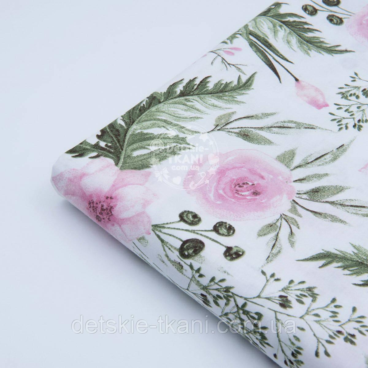 """Лоскут ткани """"Розовые розочки и анемоны с вычурными листьями"""" на белом (№1641а), размер 44*80 см"""