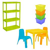 Комплект детской мебели Малыш 6 стол + 2 стула + стеллаж + 4 емкости для игрушек 18-100-37, КОД: 1130299