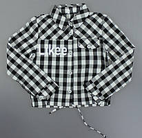 {есть:134,152} Рубашка Likee в клетку для девочек, 134-152 рр. Артикул: RSB002-чёрно-белый