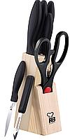 Набор кухонных ножей Renberg Black Crystal 7 предметов на деревянной подставке RB-8813psg, КОД: 168661