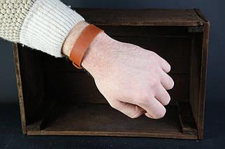Браслет на руку Винтажная кожа цвет Коньяк, фото 2