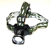 Фонарь налобный с фокусировкой луча Bailong MONT-6807, LED фонарь, мощный светодиодный фонарь на голову
