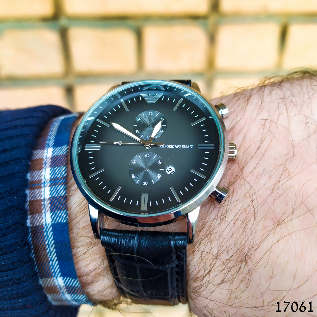 Часы мужские в стиле Armani. Мужские наручные часы серебристые. Часы с черным циферблатом Годинник чоловічий
