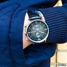 Часы мужские в стиле Armani. Мужские наручные часы серебристые. Часы с черным циферблатом Годинник чоловічий, фото 2