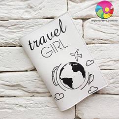 Обложка на паспорт Travel girl 7 (белый)