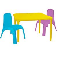 Детский стол для творчества + 2 стула Разноцветные 18-100-10, КОД: 1130263