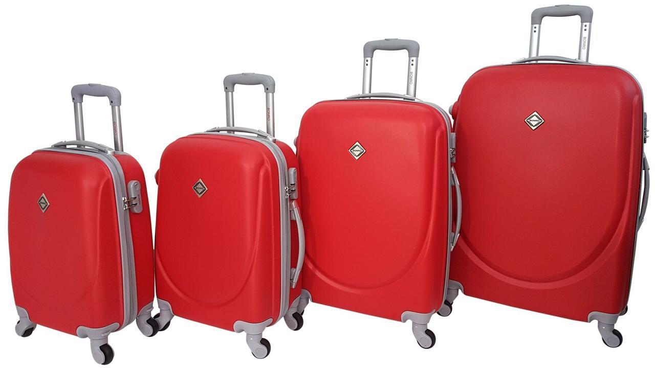 Набор чемоданов 4 штуки дорожный пластиковый на 4 колесиках с кодовым замком Бордовый