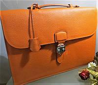 Портфель унисекс  Hermes 45 см фирменный рыжий цвет Original quality Гермес  Эрме