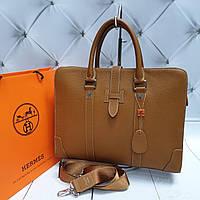 Мужской кожаный портфель Эрмес. Сумка мужская Hermes
