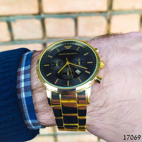 Часы мужские в стиле Armani. Мужские наручные часы золотистые. Часы с черным циферблатом Годинник чоловічий, фото 2