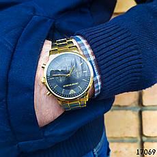 Часы мужские в стиле Armani. Мужские наручные часы золотистые. Часы с черным циферблатом Годинник чоловічий, фото 3